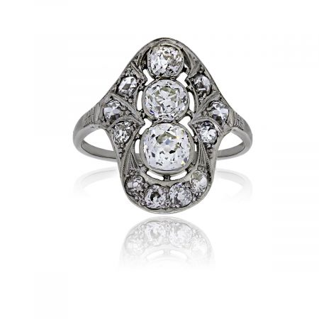 You are viewing this 18k White Gold Old European Cut Diamond Vintage Ring!