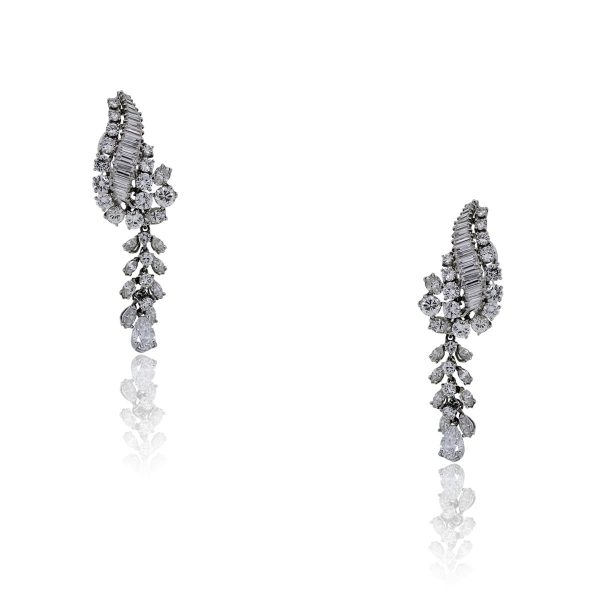 You are viewing these Platinum Round Brilliant Baguette Diamond Drop Dangle Earrings!