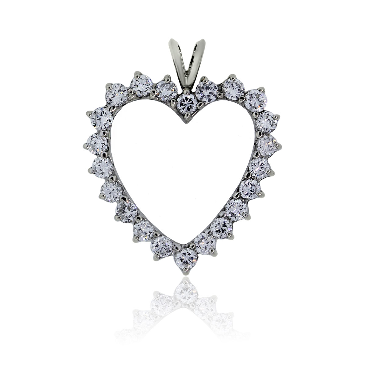 You are viewing this 14k White Gold 2ctw Diamond Heart Slide Pendant!