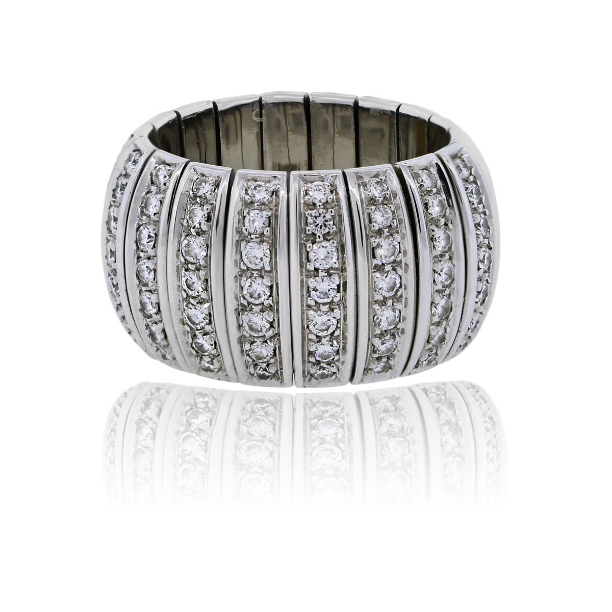 You are viewing this 18k White Gold Multi Row Diamond Cocktail Ring!