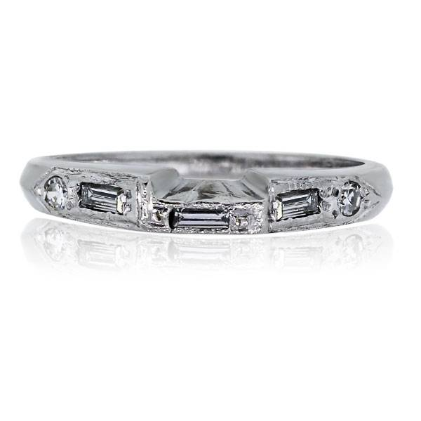 You are viewing this Platinum Diamond Stackable Vintage Band Ring!