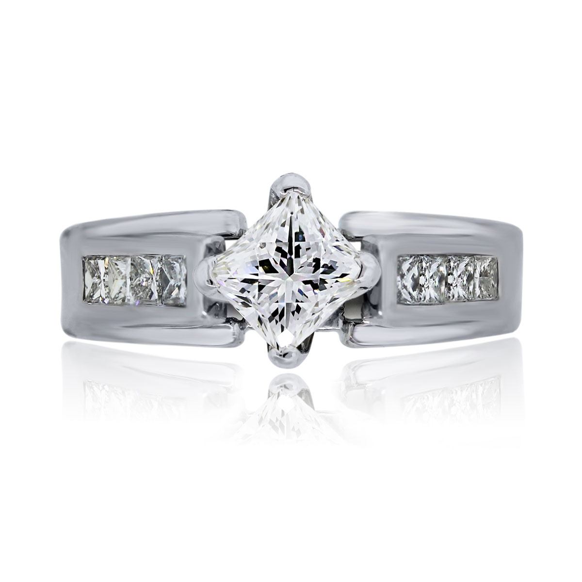 You are viewing this 14k White Gold Radiant Princess Cut Diamond Engagement Ring!