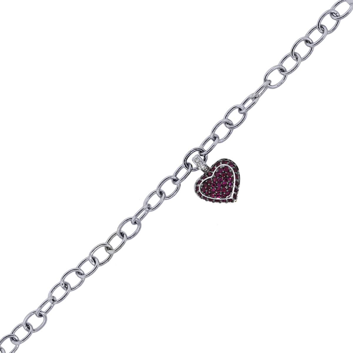 You are viewing this 18k White Gold Ruby Heart Charm Bracelet!