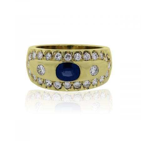 You are viewing this 18k Yellow Gold Oval Blue Sapphire Diamond Ring!