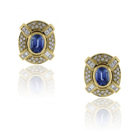 18k Yellow Gold Blue Sapphire and Diamond Vintage Earrings