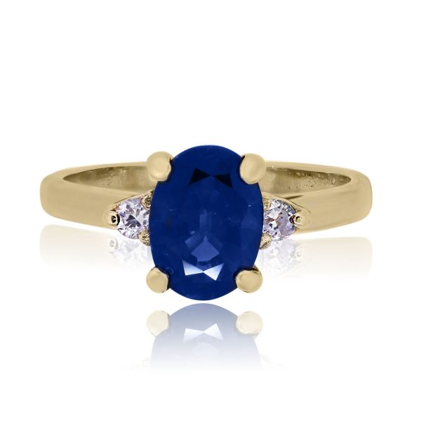 You are viewing this 14k Yellow Gold Diamond Oval Sapphire Ring!