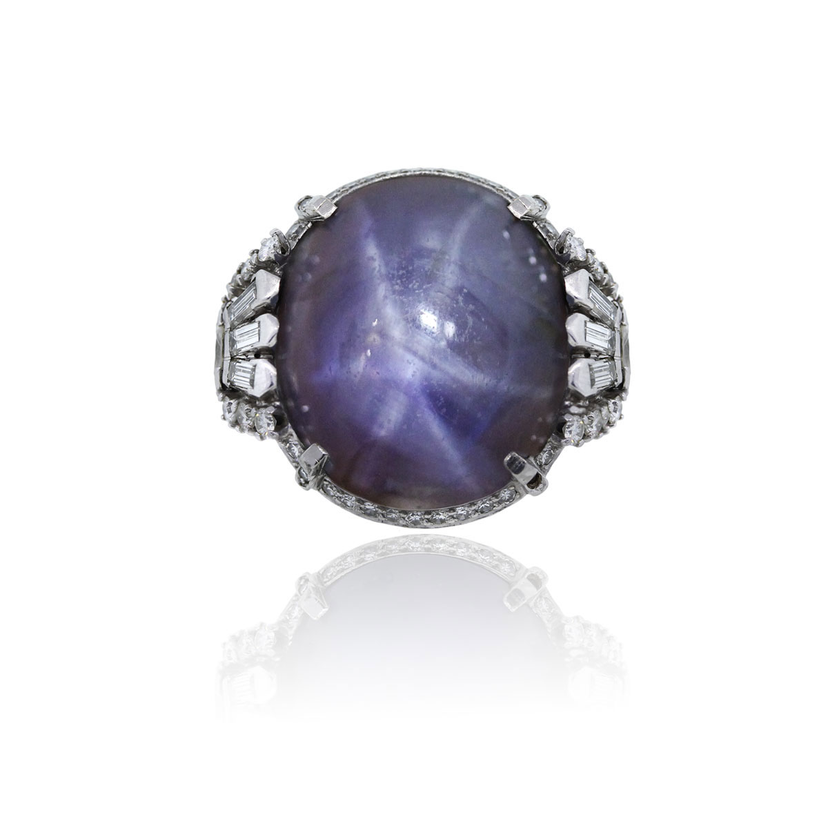 You are viewing this Platinum Cabochon 88ct Star Sapphire Diamond Cocktail Ring!