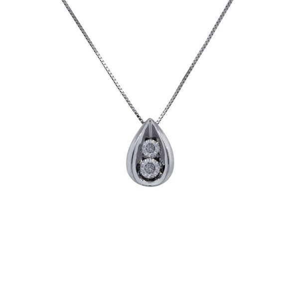 White Gold Chain with Diamond Slide Pendant Necklace