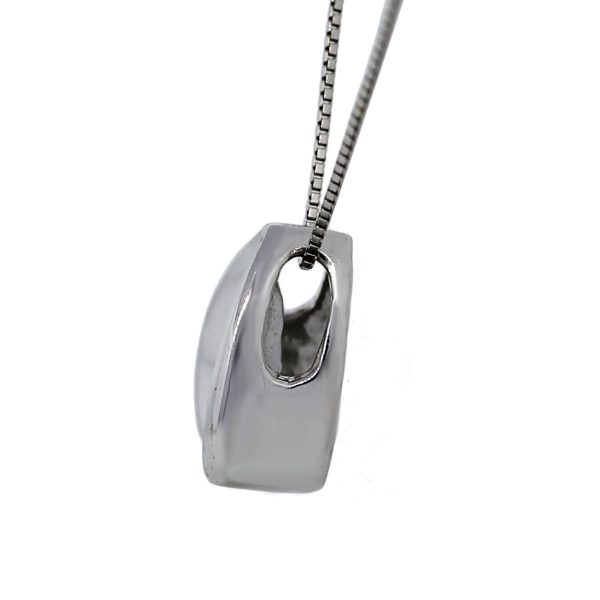 14k White Gold Chain with Diamond Pendant Necklace