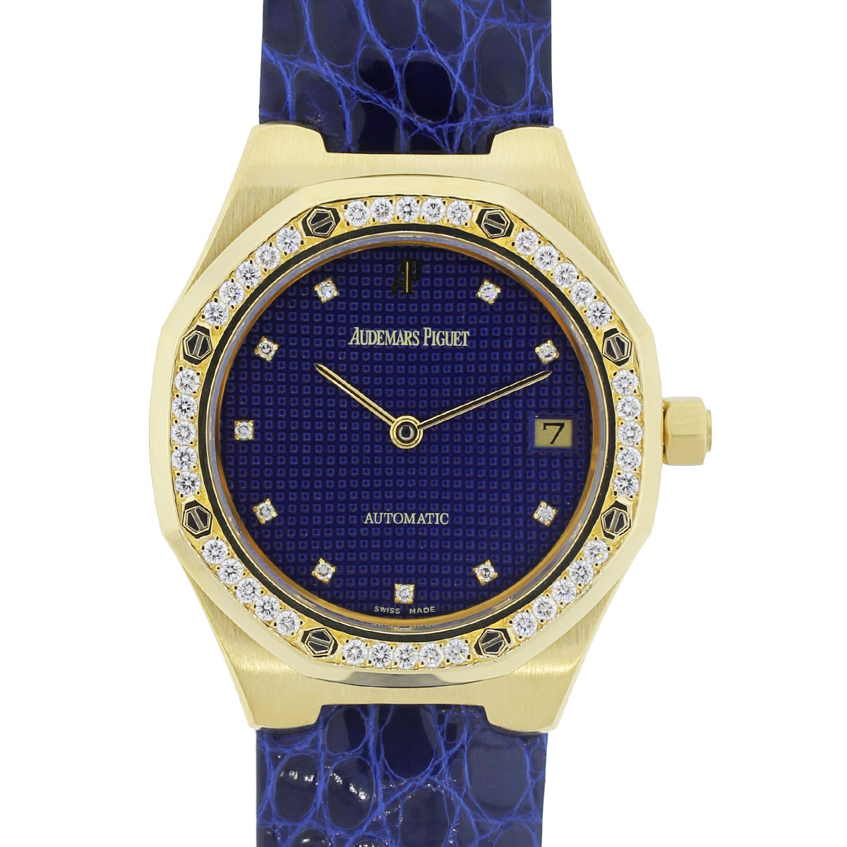 You are viewing this Audemars Piguet Royal Oak 18k Gold Diamond Blue Dial Watch!