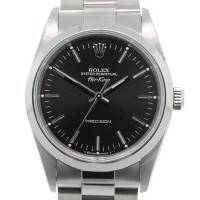 Rolex Air King 14000 Black Stick Dial Stainless Steel Watch