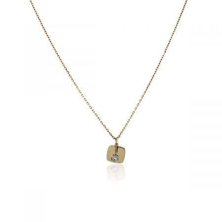 You are viewing this Breil 18k Yellow Gold Diamond Small Disc Pendant Necklace!