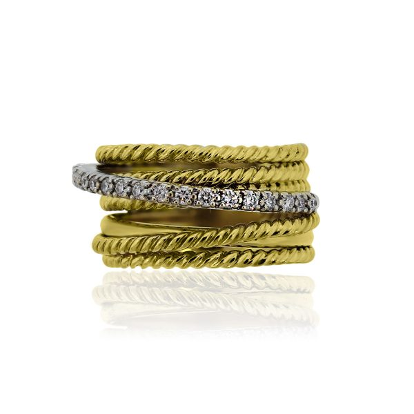 You are viewing this David Yurman 18k Yellow Gold Diamond Crossover 11mm Ring!