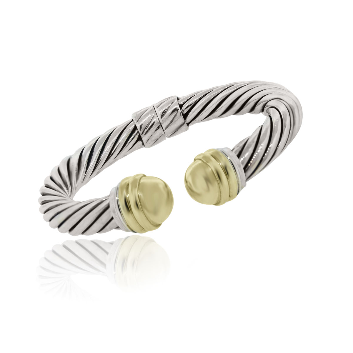 You are viewing this David Yurman 14k Two Tone 10mm Cable Bracelet!