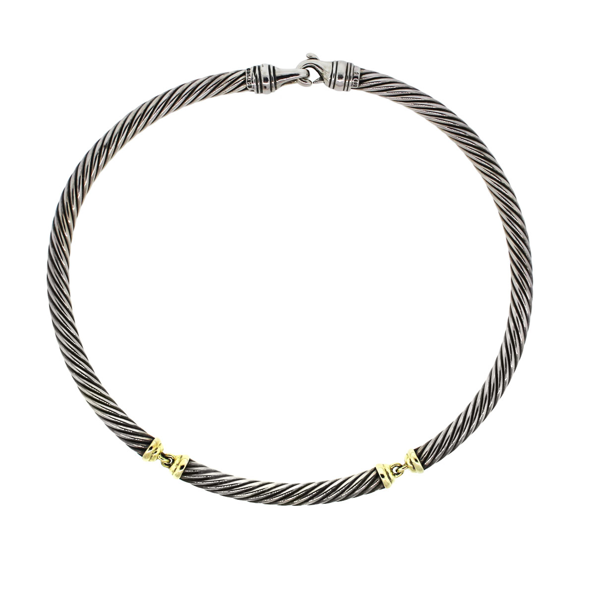 david yurman sterling silver 14k yellow gold cable necklace