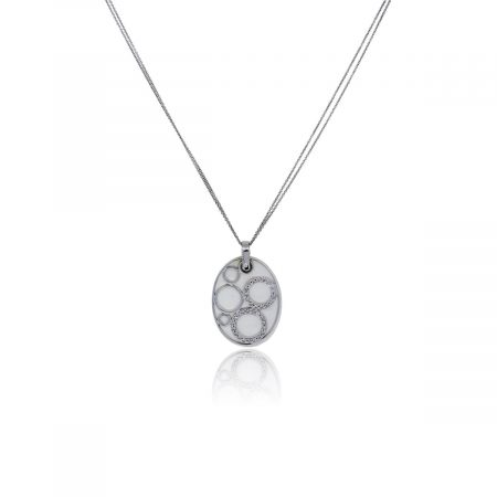 You are viewing this 14k White Gold Mother of Pearl Diamond Pendant!