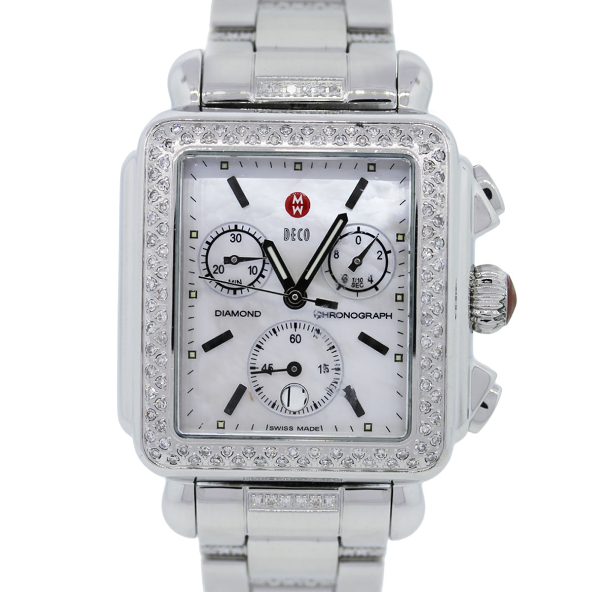 You are viewing this Michele Deco Mosaic Diamond Mother of Pearl Dial Watch!