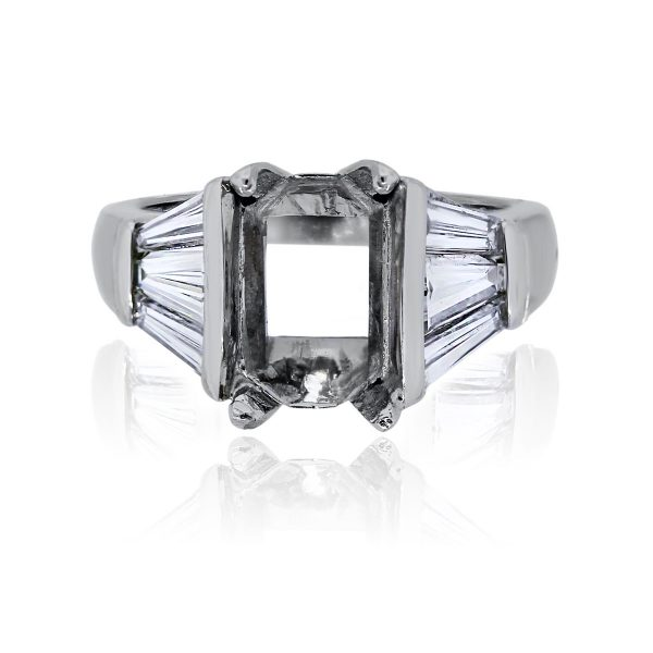You are viewing this Platinum Emerald Cut Diamond Baguette Mounting!