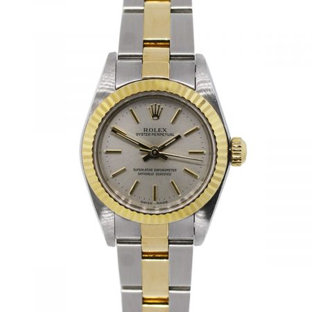 You are viewing this Rolex Oyster Perpetual 67193 Two Tone Gold Dial Ladies Watch!