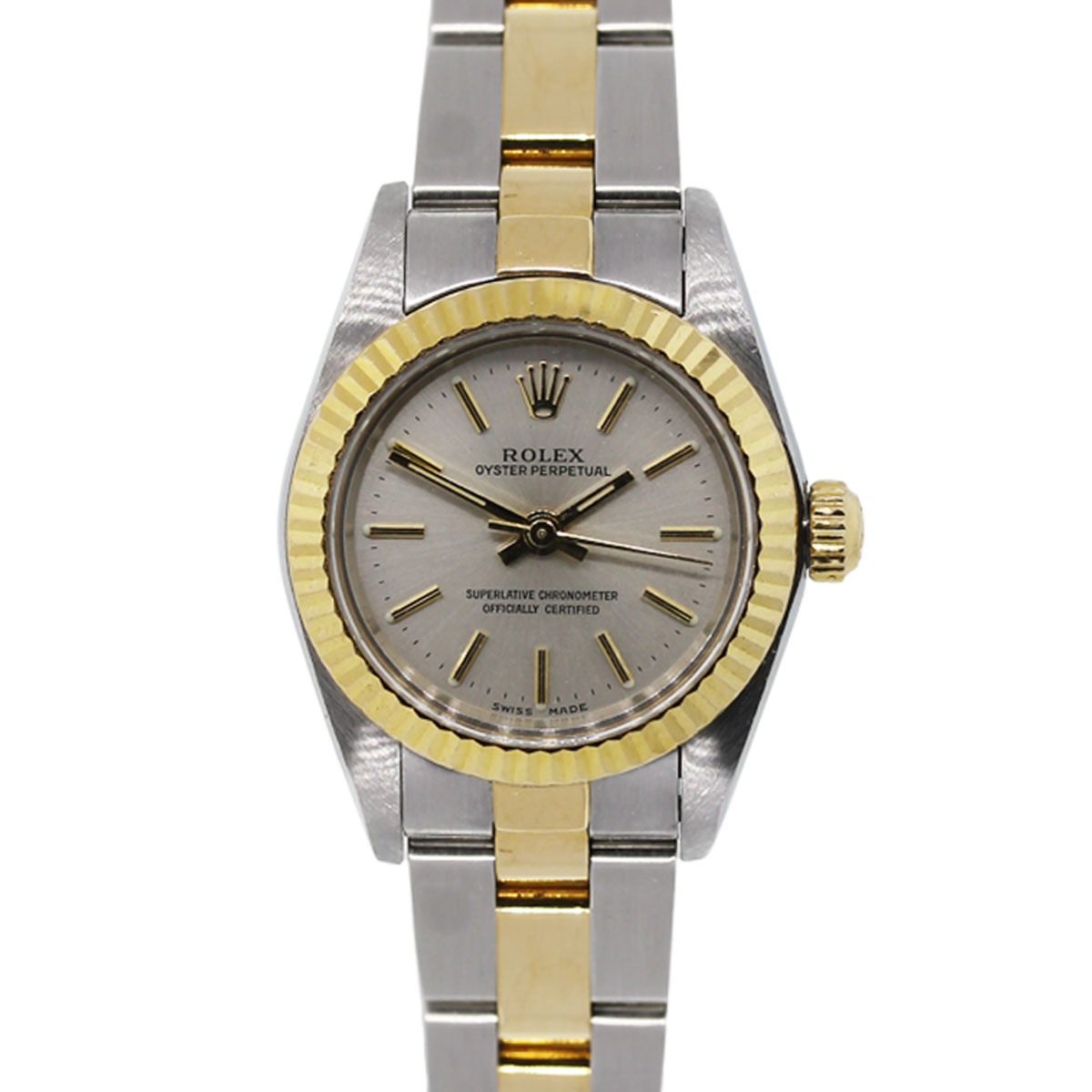 Rolex Oyster Perpetual 67193 Two Tone Gold Dial Ladies Watch