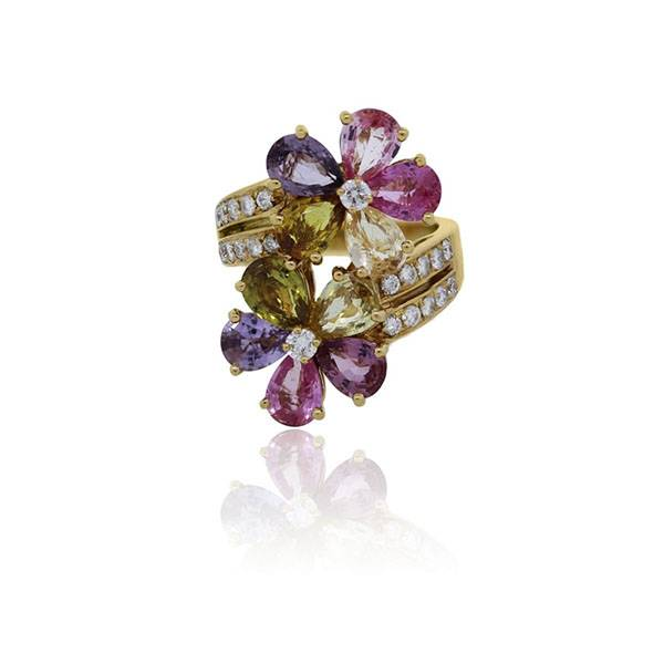Bulgari Contraire Sapphire Diamond Flower Cocktail Ring