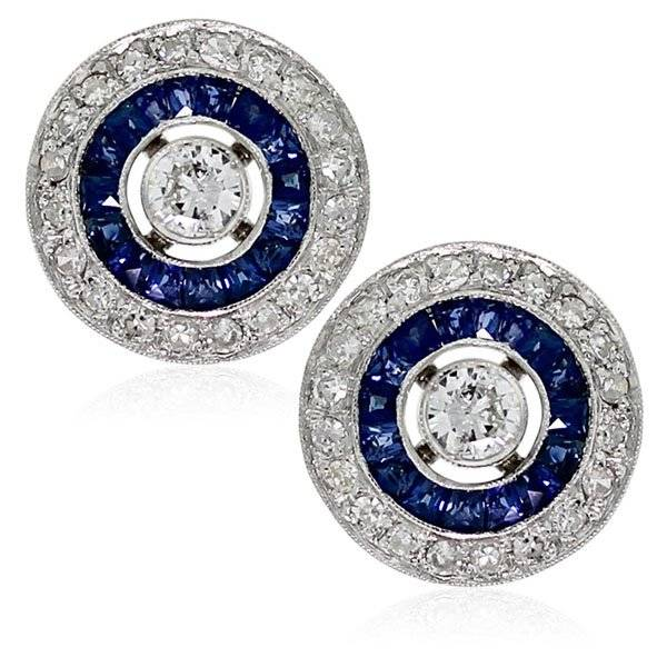 White gold art deco diamond and sapphire studs