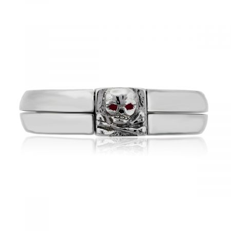 You are viewing this Platinum Ruby Skull Mens Ring!