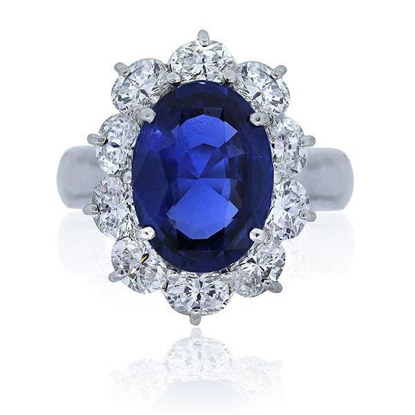 Platinum and diamond unheated sapphire ring