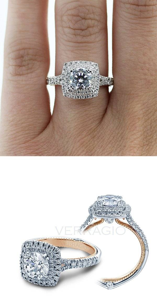 Double halo Engagement Ring with Rose Gold