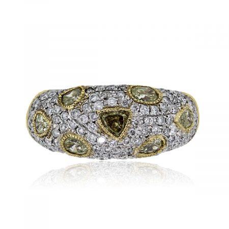 You are viewing this 18k Yellow Gold White & Yellow Diamond Ring!