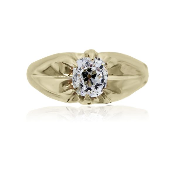 You are viewing this 14k Yellow Gold Antique Cushion Gents Diamond Ring!