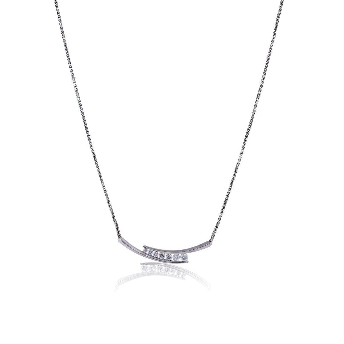 You are viewing this 14k White Gold Diamond Bar Necklace!