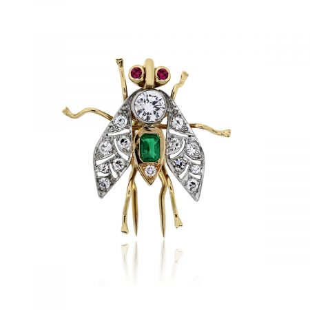You are viewing this 14k Two Tone Diamond Ruby Emerald Fly Pin!