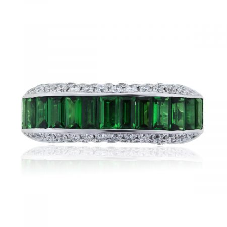 You are viewing this 18k White Gold Tsavorite and Diamonds Ring!