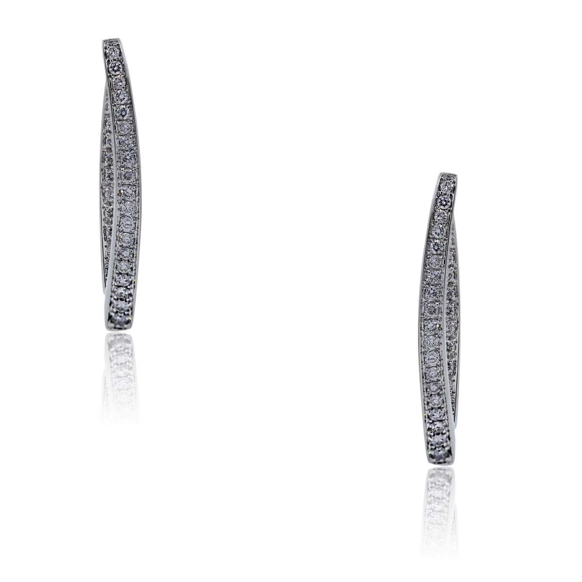 You are viewing these 14k White Gold Diamond V Shape Earrings!