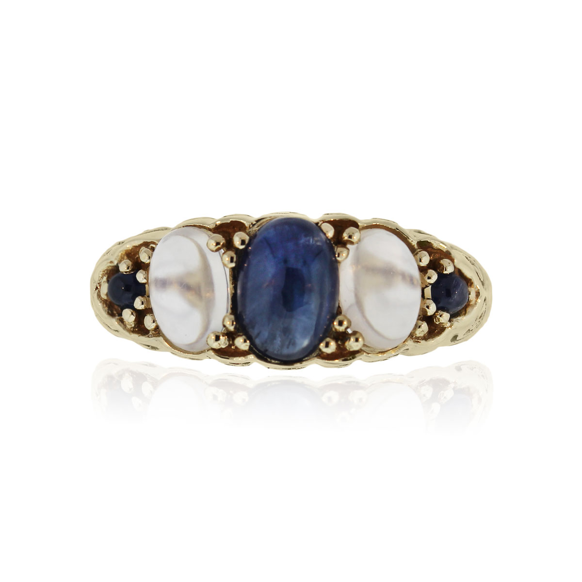 You are viewing this 14k Yellow Gold Moonstone Sapphire Vintage Ring!