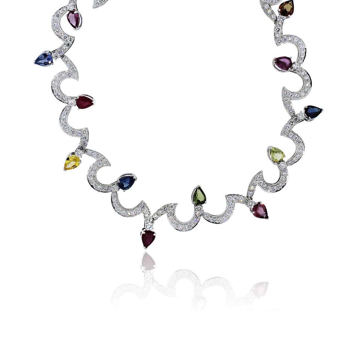 You are viewing this 18k White Gold Diamonds & Multi Color Sapphires Necklace!
