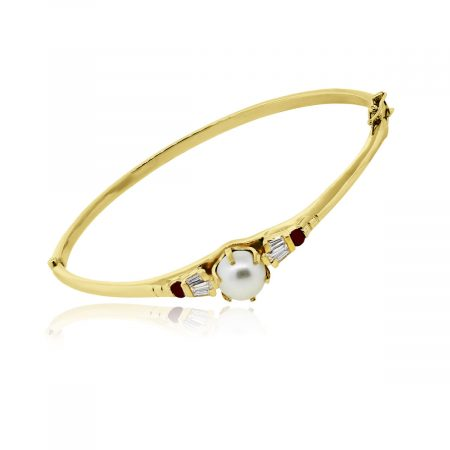 You are viewing this 14k Yellow Gold Pearl Diamond Ruby Bangle Bracelet!