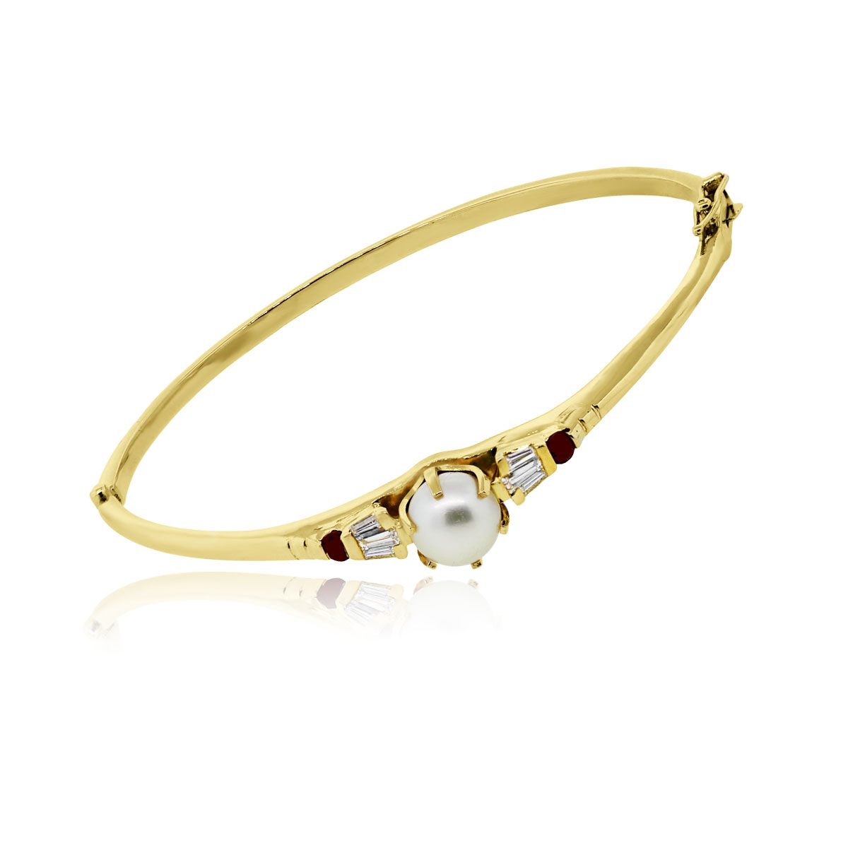 14k yellow gold pearl diamond and ruby bangle bracelet