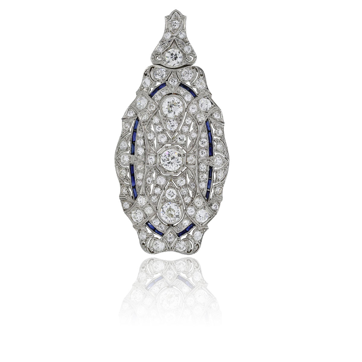 You are viewing this Platinum Diamond Sapphire Pendant Pin!