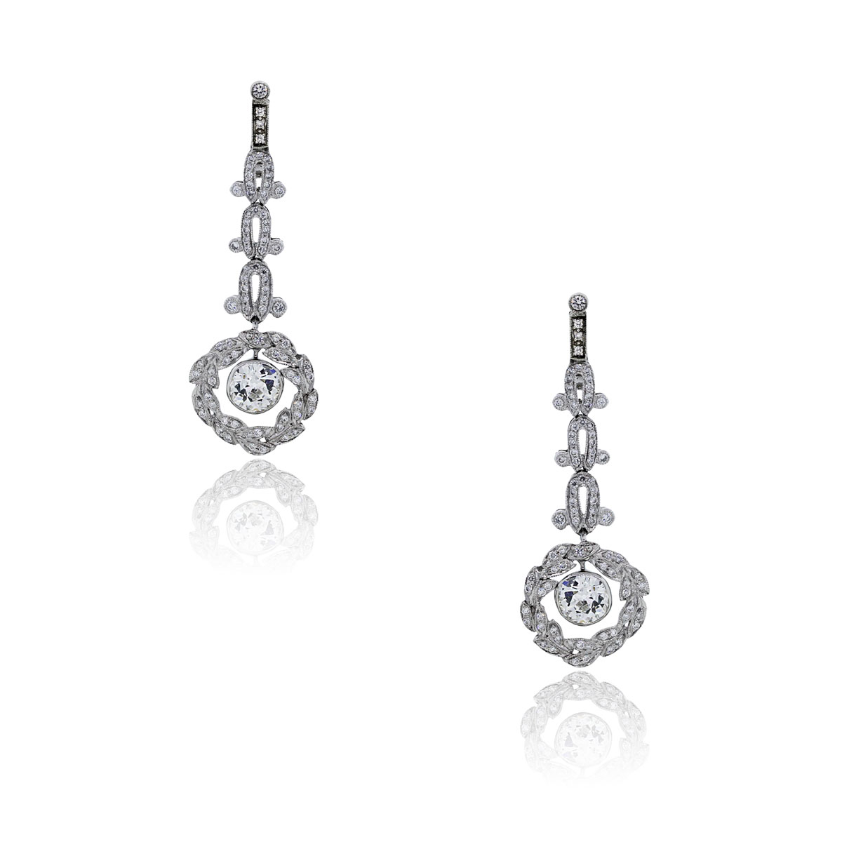 You are viewing these Platinum Cushion Shape Diamond Drop Dangle Earrings!