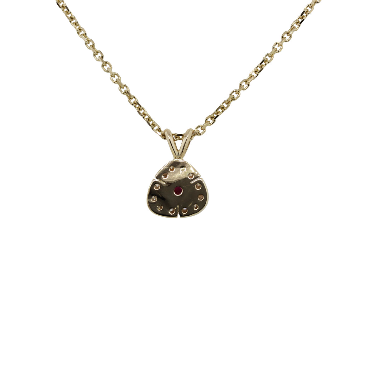 Yellow Gold Trillion Ruby Diamond Pendant Necklace