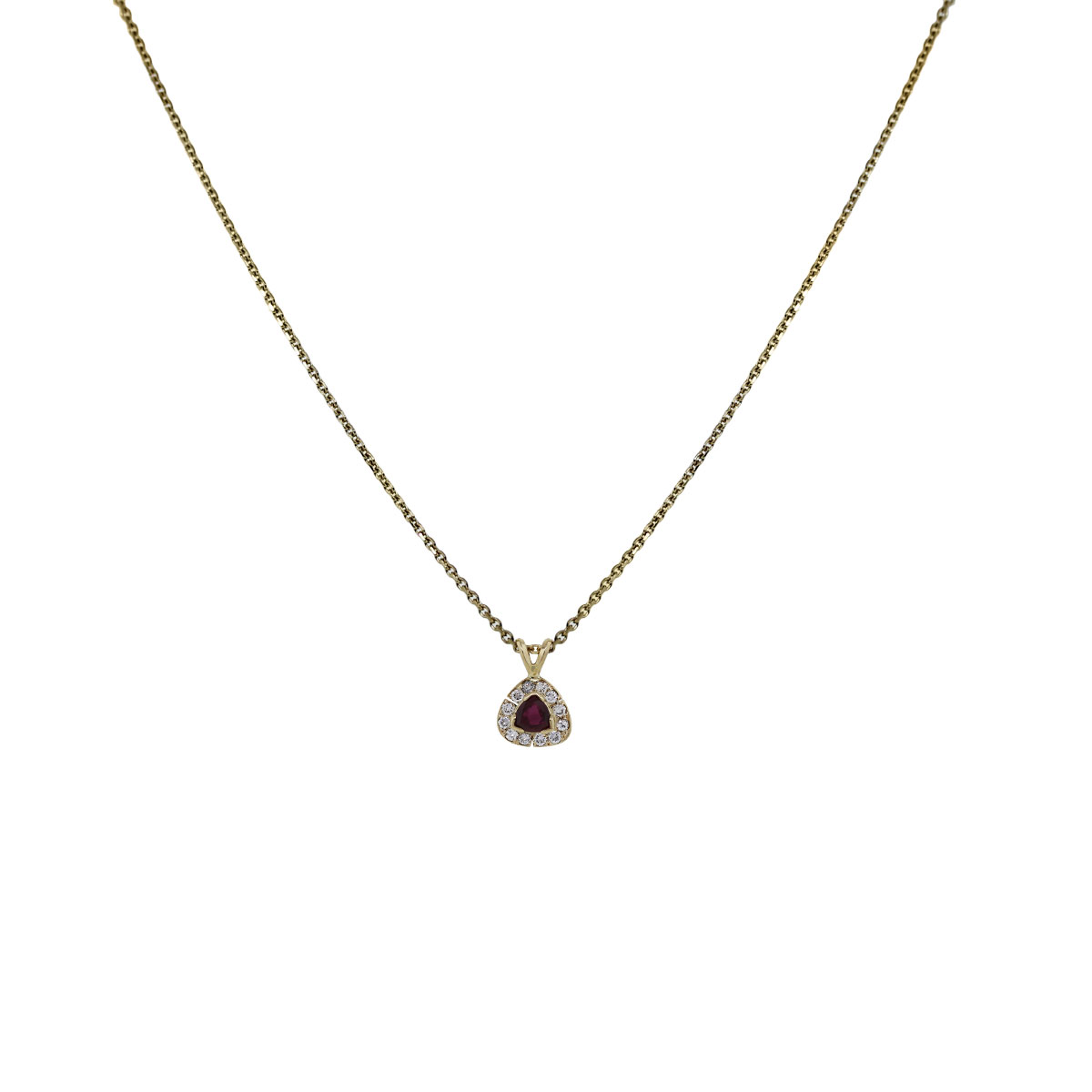 14k Yellow Gold Trillion Ruby Diamond Necklace