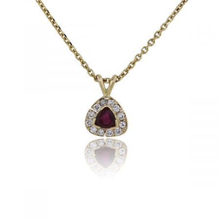 You are viewing this 14k Yellow Gold Trillion Ruby Diamond Pendant Necklace!