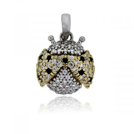 You are viewing this 18k Two Tone Sparkly Pave Diamond Lady Bug Charm Pendant!