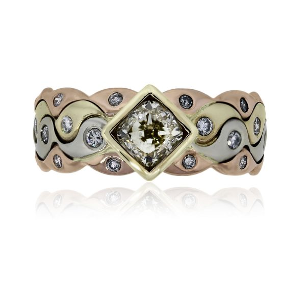 You are viewing this 18k Tri Tone Gold 1.1ctw Diamond Ring!