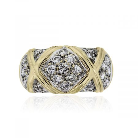 You are viewing this 14k Yellow Gold Round Brilliant Diamonds X Ring!