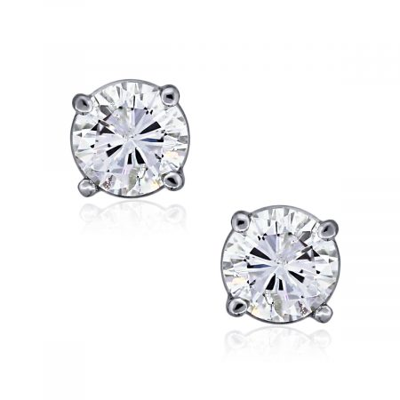 You are viewing these 14k White Gold Round Brilliant 1.10ctw Diamond Stud Threaded Earrings!