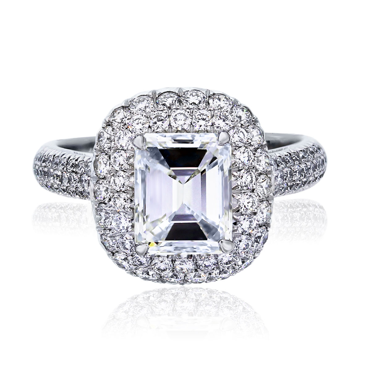You are viewing this Platinum 1.79ct Emerald Cut Diamond GIA certified Engagement Ring!