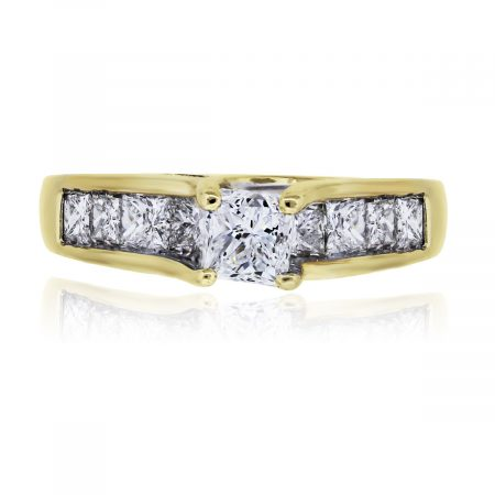 You are viewing this 14k Yellow Gold 1.78ctw Princess Cut Diamond Wedding Ring!